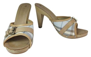 Burberry Leather Nova Check Heels Sandals