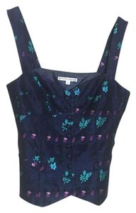 Nanette Lepore Navy Tank Embroidered Top Blue