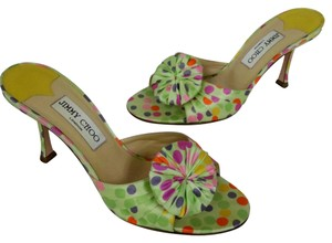 Jimmy Choo Lambskin Peep Open Heels Espadrille Multi Color Sandals