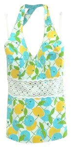 Lilly Pulitzer yellow,blue,green,white Halter Top