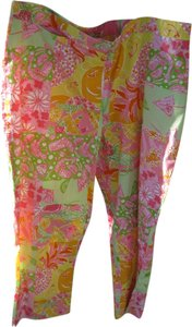 Lilly Pulitzer Straight Pants pink green