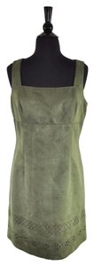 Alberto Makali short dress Green Faux Suede Sheath Sleeveless Floral on Tradesy