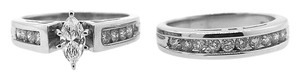 14K White Gold 1.3Ct Round Diamond Engagement Ring Band Set Size 7