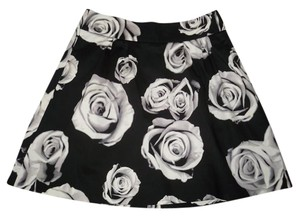 White House | Black Market Floral Roses Cotton A-line Skirt
