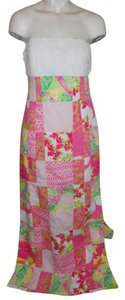 white, pink & green print Maxi Dress by Lilly Pulitzer Strapless Lace Patchwork