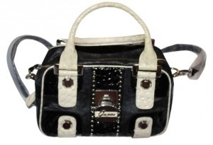 Guess Satchel in Black w/white trim
