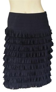 Etcetera Fringe Tiered Pencil Straight Skirt Black