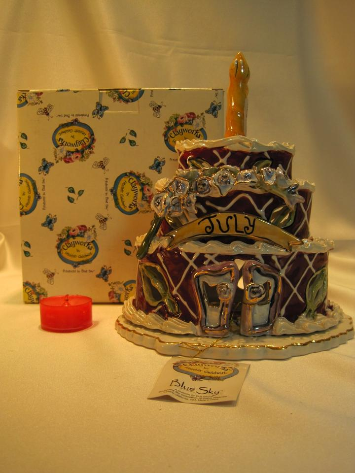 July Birthday Cake Cottage By Heather Goldminc Clayworks For Blue
