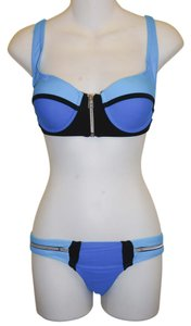 Other Blue Bandage Pushup Supportive Front Zipper Swimsuit Bikini