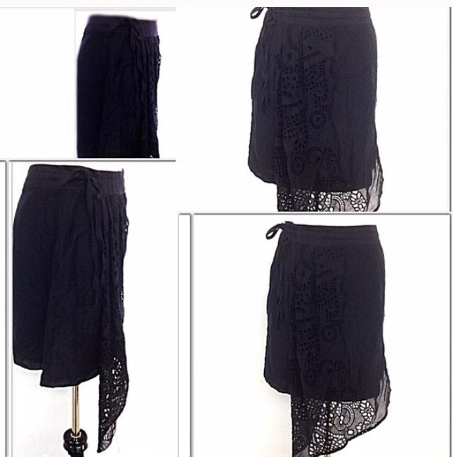 Liefnotes Anthropologie Crotchet Mini Overlay Date Night Girls Night Night Out Fun Skirt Black