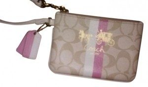 Coach Wristlet in pink, white & cream/gold