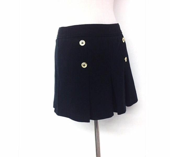 Juicy Couture Pleated Gold Mini Fun Skirt Black