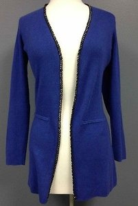 Etcetera Cotton Angora Metallic Edged Open Front Knit Cardigan Sma 547 Sweater