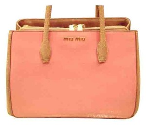 fb1cad5633c4 Miu Miu Vintage Look Craquele Two-tone Pink Beige Tote in Geranio and Camm