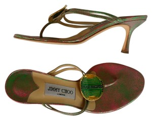 Jimmy Choo Thongs Leather Irridescent Pink Sandals
