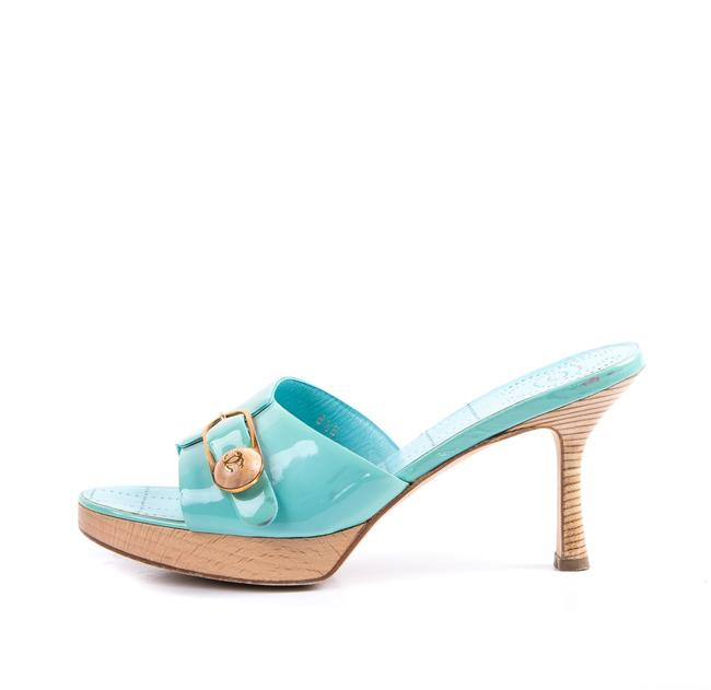 Item - Teal Light Blue Wooden Heels Sandals Size US 8