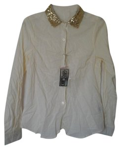 Ali & Kris Button Up Sequined Dress Shirt Button Down Shirt Cream with gold glitter collar