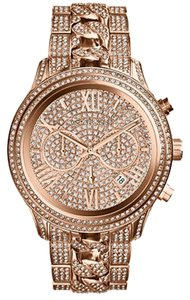 Michael Kors Michael Kors Women's Chronograph Lindley Pav Rose Gold-Tone Stainless Steel Bracelet Watch