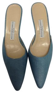 Stubbs & Wootton Straw Chic Vintage blue Mules
