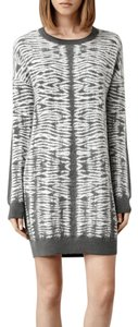 AllSaints short dress Grey Sweater Zebra Knit on Tradesy