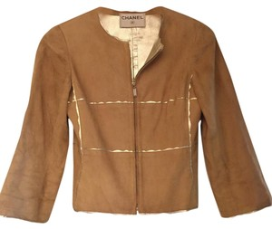 Chanel Tan suede/ soft gold Leather Jacket