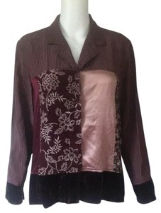 Josephine Chaus Silk Button Down Shirt NWOT Burgundy and Cream