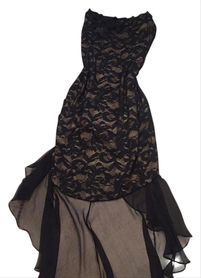 Eletra Casadei Black W Nude Under Layer High Low Cocktail Dress Size