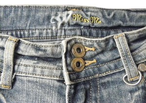 Miss Me 2 Buttons Embroidery Inserts Capri/Cropped Denim-Distressed