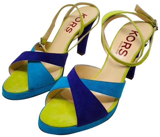 Michael Kors Purple Lime Green Turquoise Sandals Size US 8.5 Regular (M, B) Michael Kors Purple Lime Green Turquoise Sandals Size US 8.5 Regular (M, B) Image 1