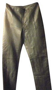 Vakko Soft Leather Lined Straight Pants Black