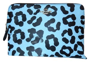 Coach Leather Gold Hardware New With Tags Pale Blue and Black Clutch