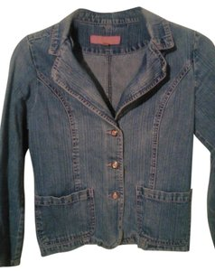 Bongo Pink Stitched 3 Buttons 2 Front Washed blue Womens Jean Jacket