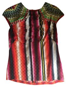 Peter Pilotto Print Cap Sleeve Top red