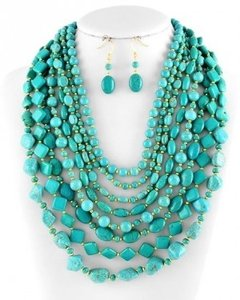 Other Chunky Turquoise Multi Strand Necklace