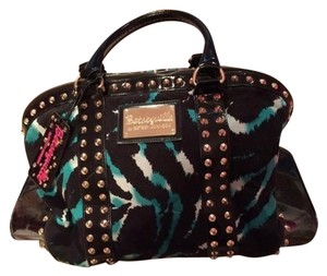 Betsey Johnson Black & Teal Travel Bag
