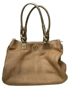 Tory Burch Tote in Tan and metallic Gold