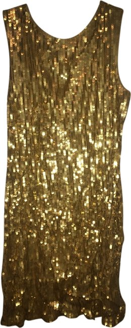 Item - Gold Sequin V Backless Party Sparkle Knee Length Night Out Dress Size 14 (L)