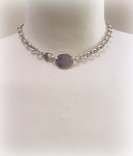 Tiffany & Co. Return to Tiffany Sterling Silver Oval Tag Choker Necklace