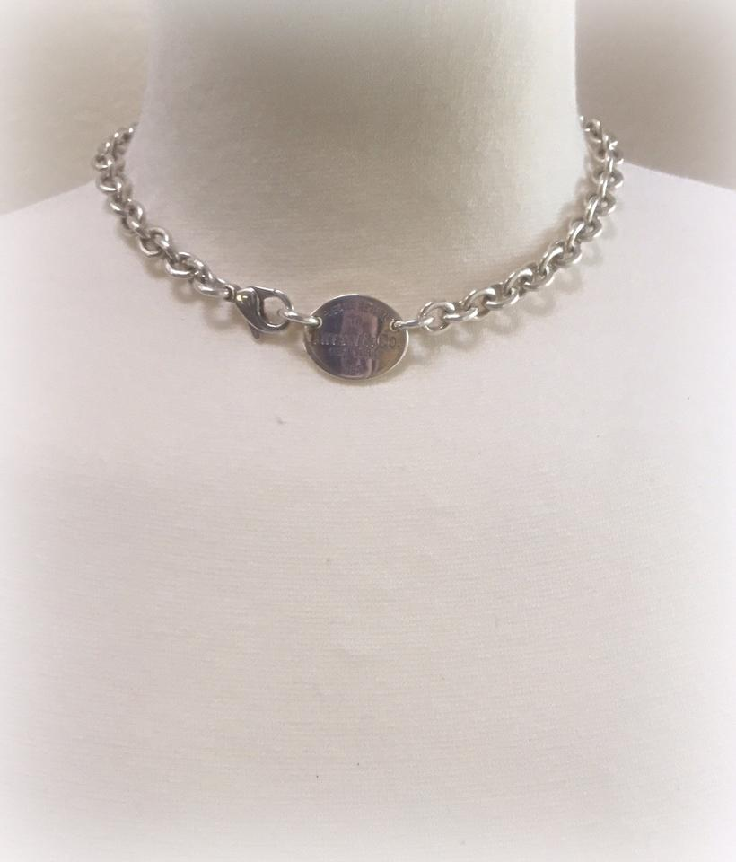 1026d3ddd Tiffany & Co. Sterling Silver Return To Oval Tag Choker Necklace - Tradesy