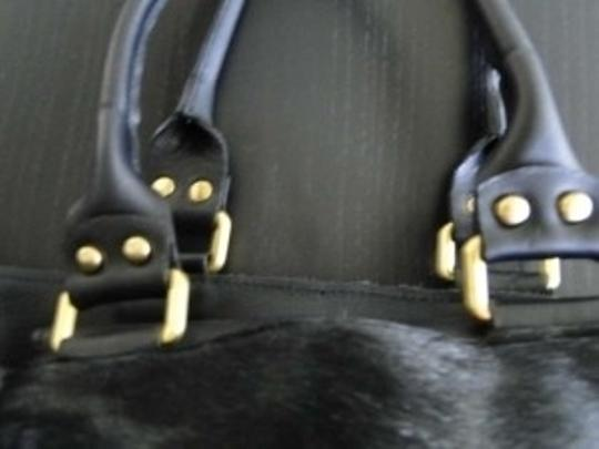 Zara Cowhide Leather Brass Trim New Not Used Tote in Black