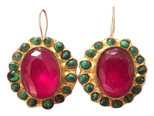 Ruby Red and Emerald Green Gold Drop Earrings