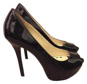 Enzo Angiolini Patent Peep Toe Pump Open Toe Black Pumps