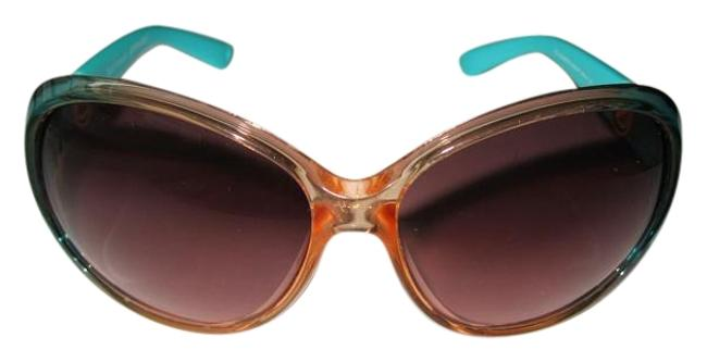 Item - Coral Turquoise Twotone Side Rotating Details Sunglasses