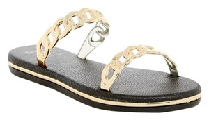Dizzy Wedgw Leather Chain Low Flop Black Sandals