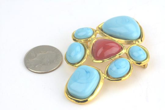 Chanel Chanel Large Turquoise And Red Glass Stone Pin Brooch