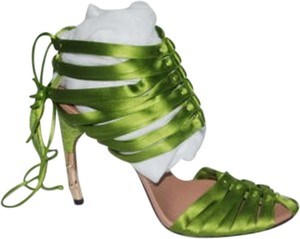 Gucci Alligator Heels Bamboo green Sandals