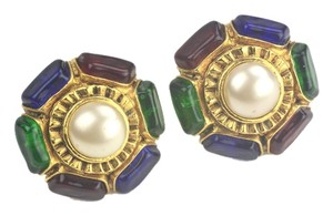 Chanel Chanel Large Camellia Flower Shaped Pearl Ruby Sapphire Emerald Gripoix Clip-On Earrings