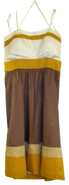 Max and Cleo short dress white, mustard and light brown on Tradesy