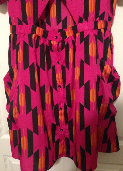 A.B.S. by Allen Schwartz short dress B. Tribal Ethnic Party Hot Pink Buttons Keyhole Pockets Geometric Open Back on Tradesy