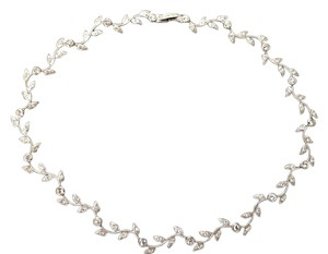 Sterling Silver and Rhinestone Choker with Delicate Pave Leaf Detail & Lovely Jeweled Clasp